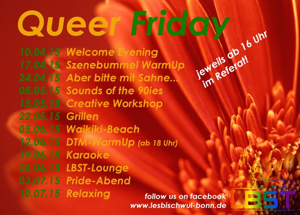 QueerFriday Flyer SoSe15